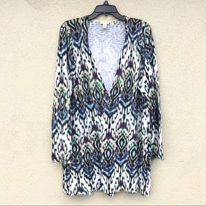 CHICO'S open front cardigan sweater LONG print 2XL